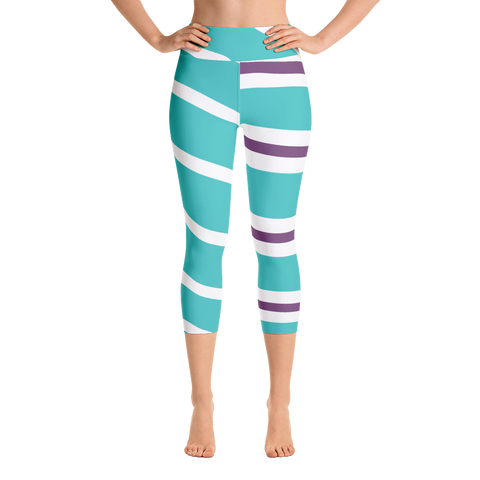 Striped Women Yoga Capris - DogzPrinted
