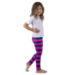 Cheshire Cat - Kids Leggings - Pink & Purple Stripes - DogzPrinted