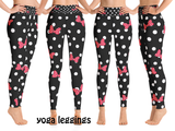 Minnie Mouse Polka Dot Bows Women's Yoga Leggings - DogzPrinted
