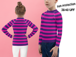 Cheshire Cat - Kids Rash Guard Shirt - Pink & Purple Stripes - DogzPrinted