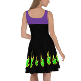 Maleficent Villain Flare Skater Dress for women - DogzPrinted