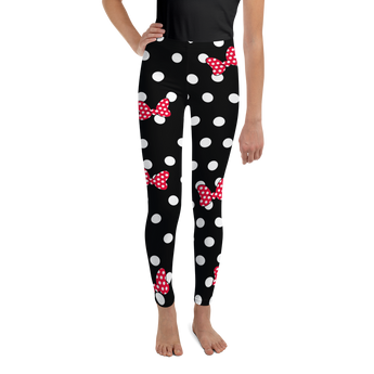 Red Minnie Mouse Ear Bows - White & Black Polka Dot - Kids Leggings - Sizes 8-20