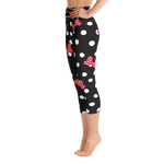 Polka Dot Bows - Red - Women's Yoga Capris - DogzPrinted