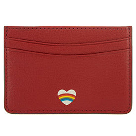 Red Rainbow Heart Card Case By Anya Hindmarch