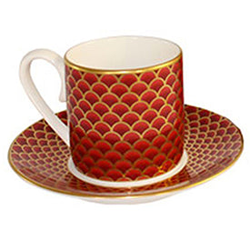 Red Coffee Cup and Saucer from Fortnum and Mason