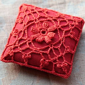 Red Crochet Linen Pin Cushion