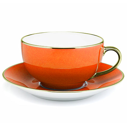 Limoges Legle Orange Cup and Saucer