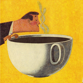 Man Smelling Cup of Coffee Yellow Art Print Pop Ink