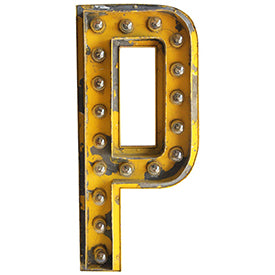 1930s Theatre Marquee Yellow Illuminated Letter P