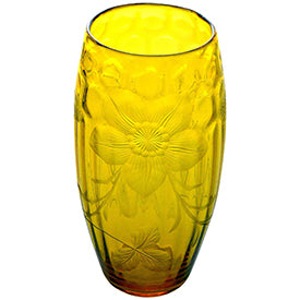 Edwardian Intaglio Cut Yellow Crystal Vase Delray & Associates on 1stdibs