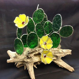 Stained Glass Cactus on Driftwood by Stained Glass Crafters Workbench | The Magpie Files