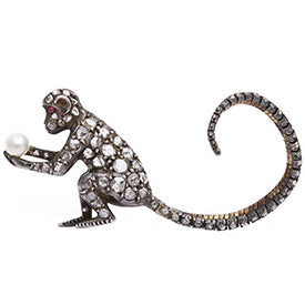 Victorian Diamond Monkey Brooch from A La Vieille Russie at 1stdibs