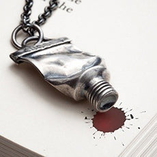 Silver Paint Tube Necklace