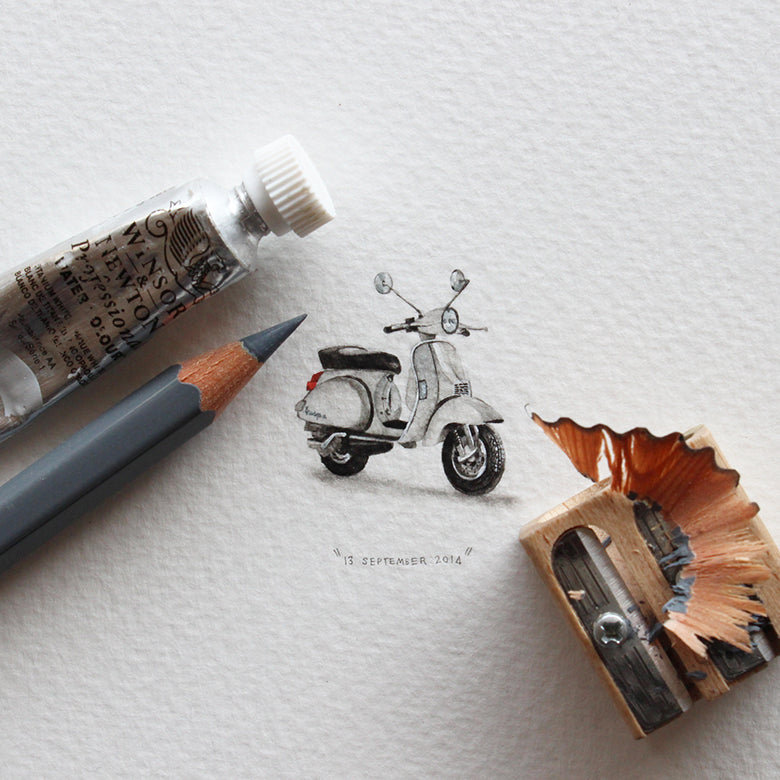Scooter 13 September 2014 Miniature by Lorraine Loots
