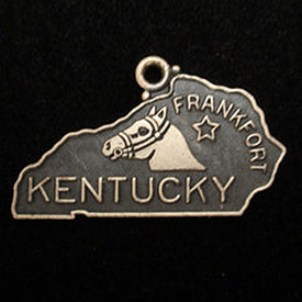 Vintage Kentucky USA Horse silver map charm