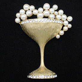 Gold and pearl champagne cocktail glass brooch pin