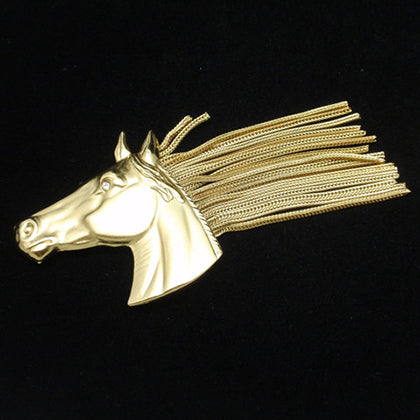 Napier horse head brooch with chain mane