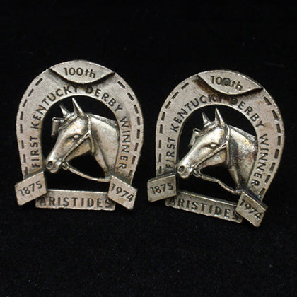 Pair of cuff links commemorating 100th anniversary of the Kentucky Derby first winner Aristides