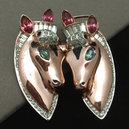 A 1940s Coro Duette Two Horse Heads Brooch