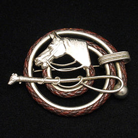Vintage silver horse equestrian brooch with leather trim