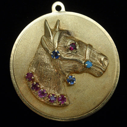 Gold and Gemstone Horse Head Charm