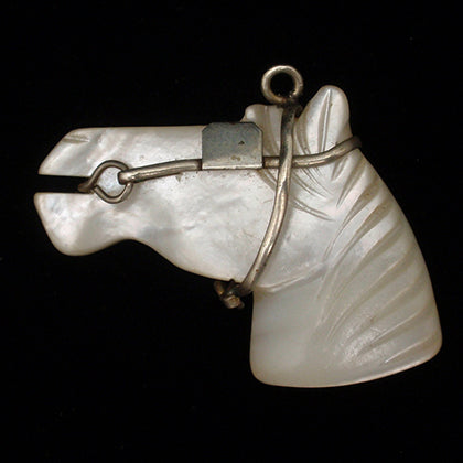 Mother of pearl shell horse head fob pendant
