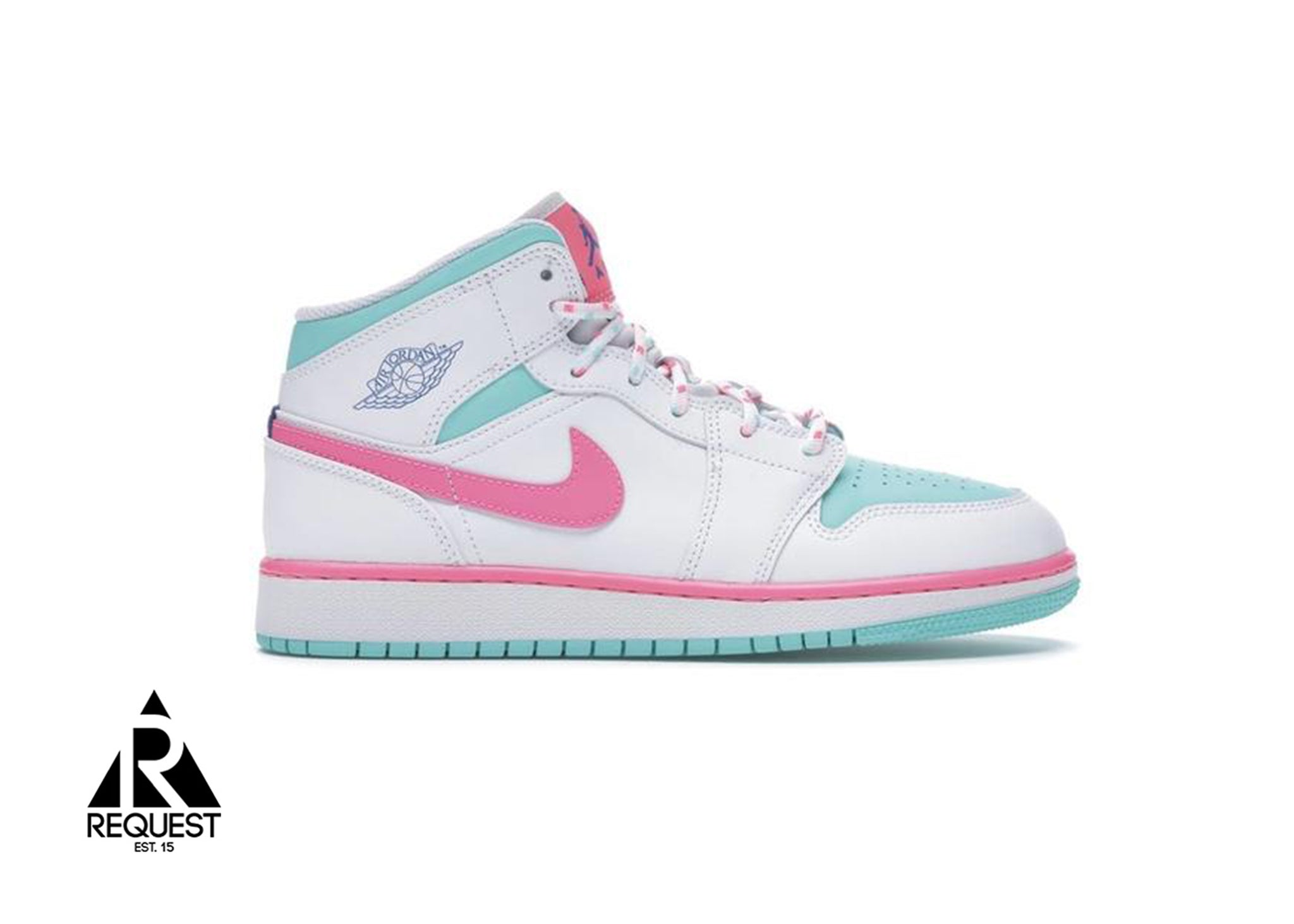 "Air Jordan 1 Mid ""White Pink Green Soar"""