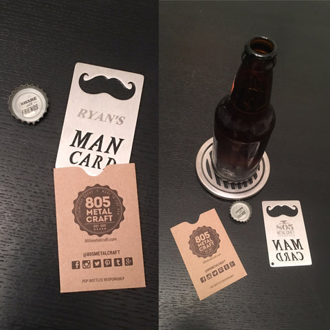 "Personalized ""Man Card"" wallet sized bottle openers"