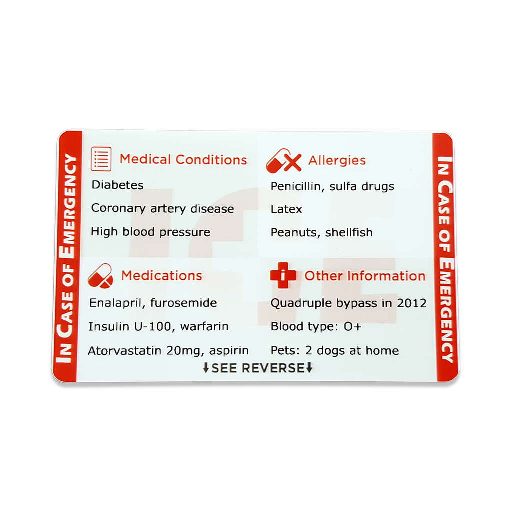 ICE Card & ICE Tags - 1 card & 4 tags