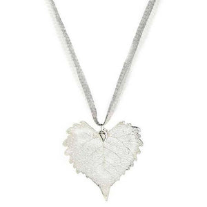 Cottonwood Leaf Necklace - Silver
