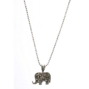 Elephant Necklace - Silver & Marcasite