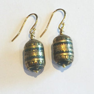 Tibetan Brass & Turquoise Earrings