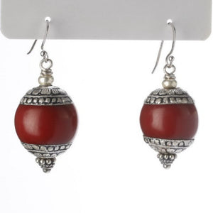 Tibetan Cherry Amber Earrings