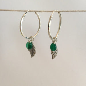 Silver Leaf Hoops - Green onyx