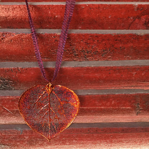 Aspen Leaf Necklace - Iridescent Copper