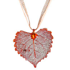 Cottonwood Leaf Necklace - Iridescent Copper
