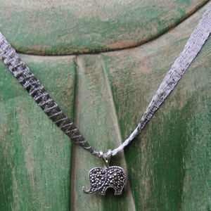 Marcasite Elephant Necklace - Mesh