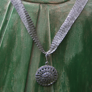 Marcasite Wheel Necklace - Mesh