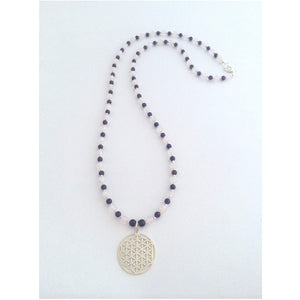Flower of Life Mala Necklace - Rose quartz, Garnets