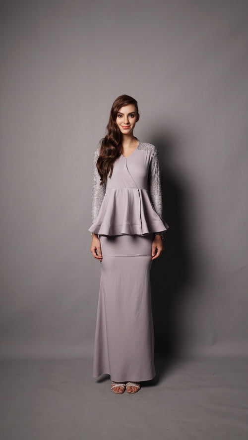 MAYA PEPLUM-LIGHT GREY