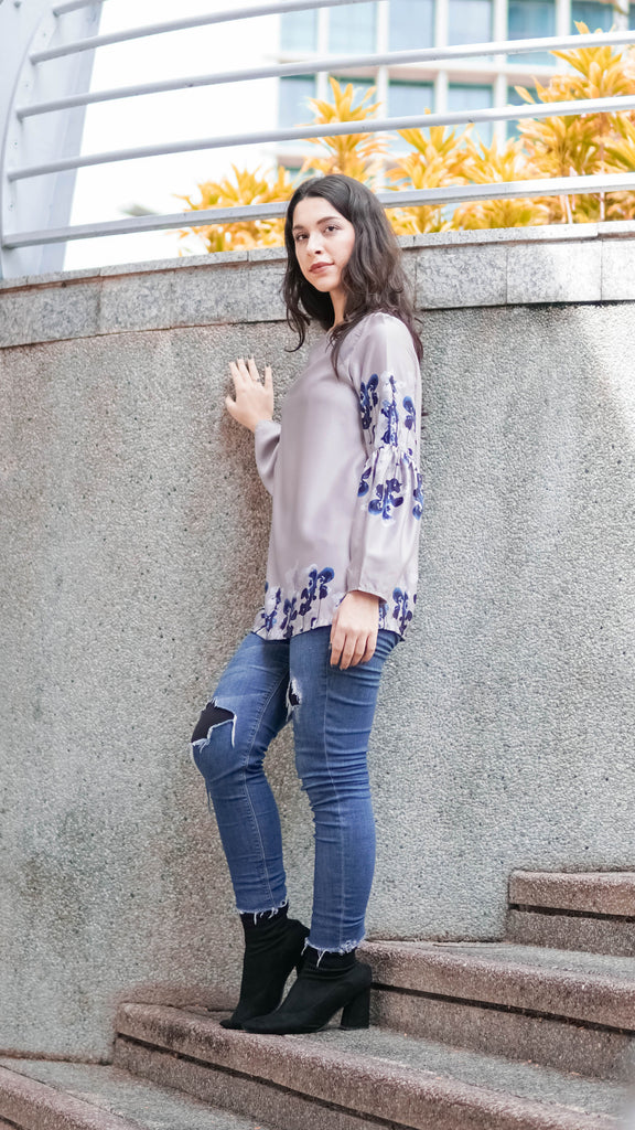 Orchid Blouse - Grey