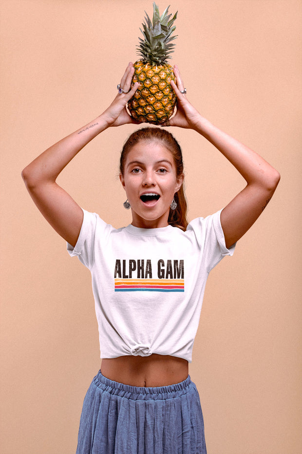 Alpha Gamma Delta Underlined With Color Tee