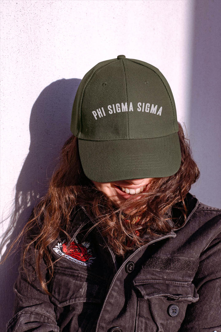 Phi Sigma Sigma lifted hat