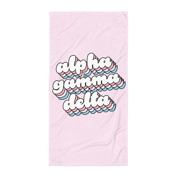 Alpha Gamma Delta Beach Towel - Bubble Gum