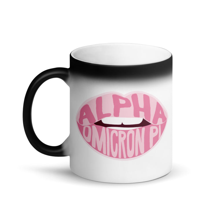 Alpha Omicron Pi Magic Coffee Mug - Pink Lips