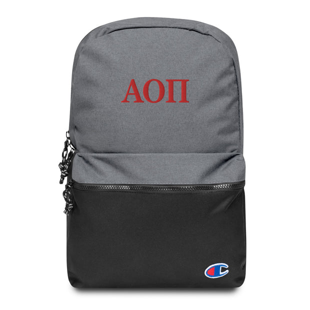 Embroidered Greek Letters Champion Backpack