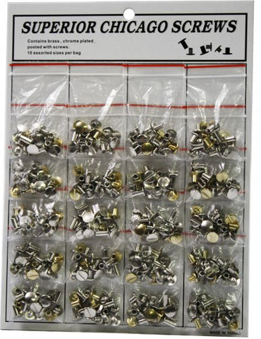 Chicago screw assortment contains brass and chrome plated plain and floral head