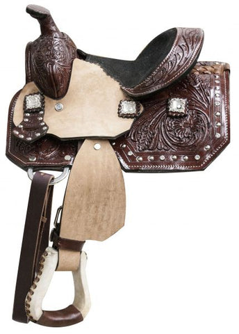 Double T pony saddle with floral tooled leather and crystal rhinestone conchos