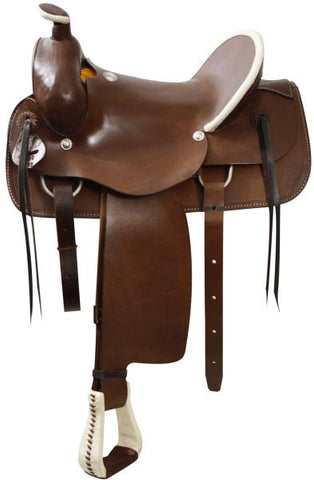 17 / Medium Circle S Roping style saddle with a hard leather seat
