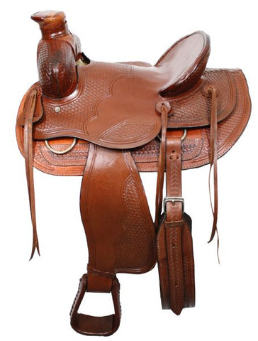 Wade style ranch saddle with square front